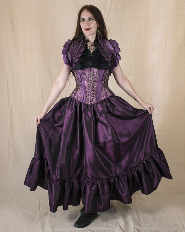Dark Purple Taffeta Ruffle Skirt