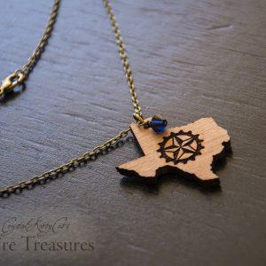 Texas Lone Star Gear Steampunk Necklace