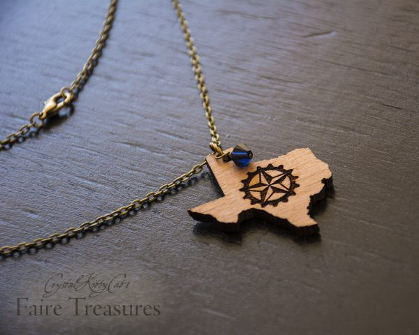 Texas Lone Star Gear Steampunk Necklace