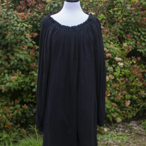 Black Cotton Gauze Long Sleeve Chemise