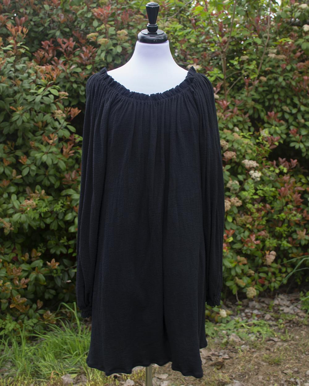 Black Cotton Gauze Long Sleeve Chemise