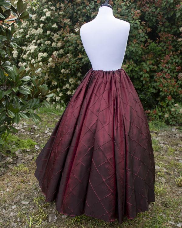 Burgundy Pintuck Taffeta Renaissance Skirt