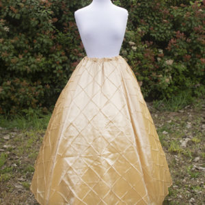 Champagne and Gold Pintuck Taffeta Renaissance Skirt