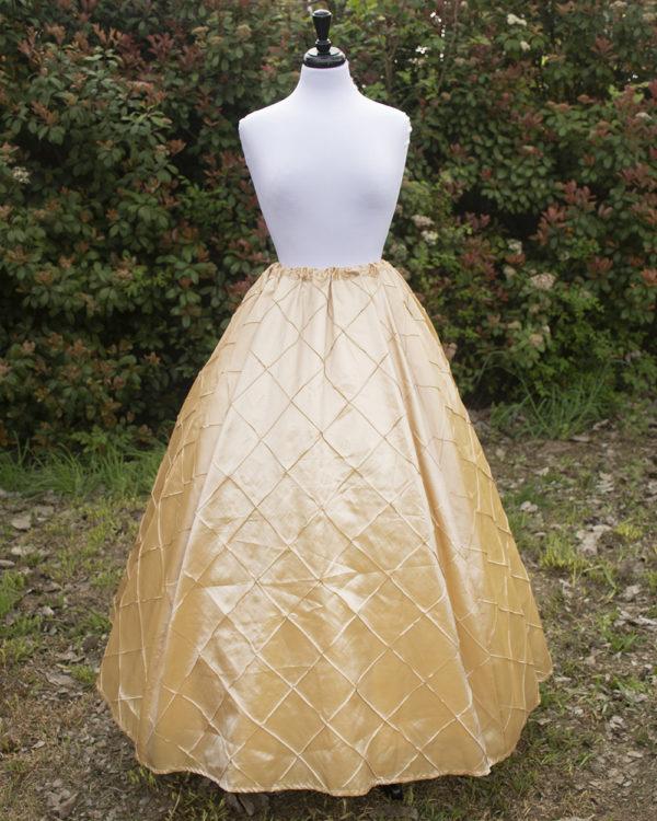 Champagne and Gold Pintuck Taffeta Renaissance Skirt