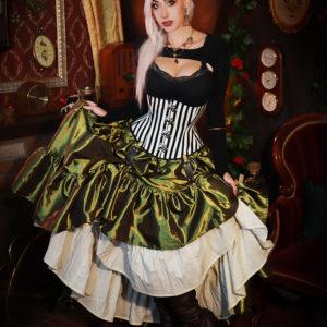 Olive Green Taffeta Ruffle Skirt