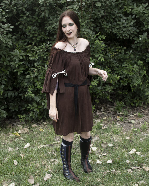 Brown Cotton Gauze Flounced Sleeve Chemise