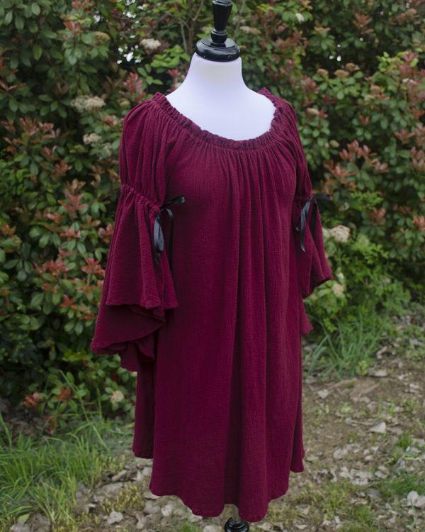 Burgundy Cotton Gauze Flounced Sleeve Chemise
