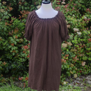 Brown Cotton Gauze Short Sleeve Chemise