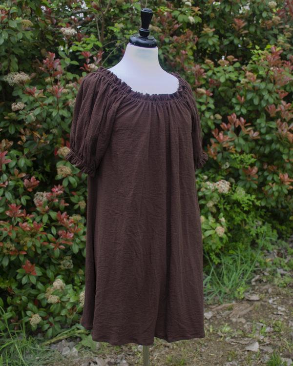 Brown Cotton Gauze Short Sleeve Chemise