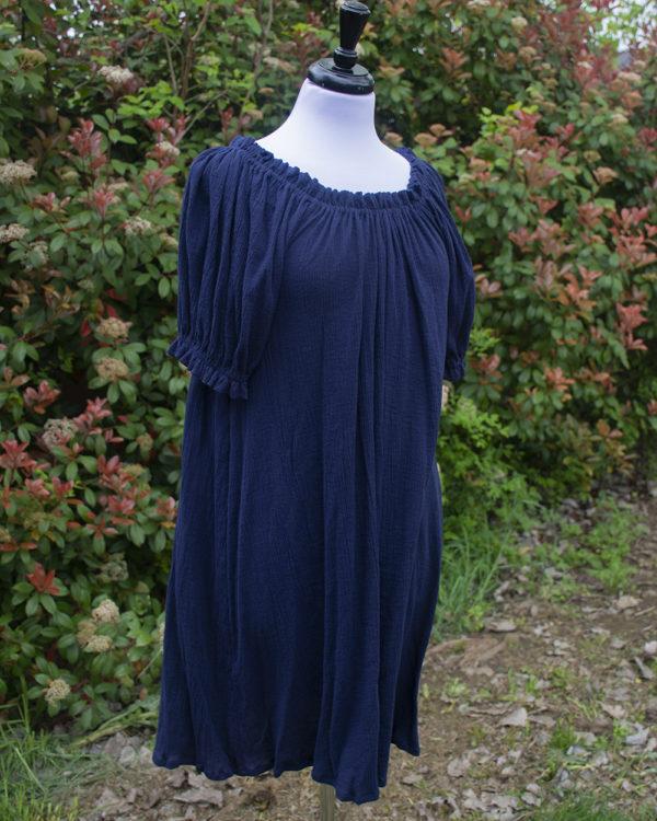 Navy Blue Cotton Gauze Short Sleeve Chemise