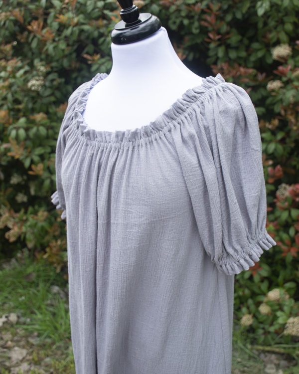Grey Cotton Gauze Short Sleeve Chemise