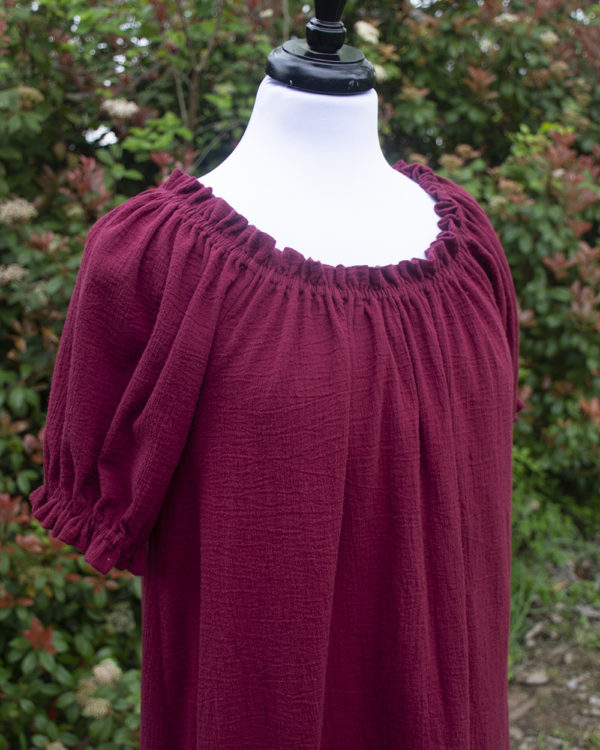 Burgundy Cotton Gauze Short Sleeve Chemise