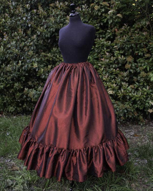 Burgundy Taffeta Ruffle Skirt